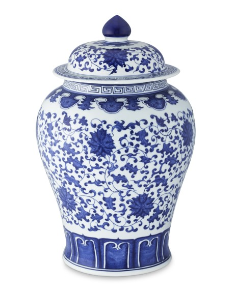 Blue & White Ginger Jar Lidded Urn, 16