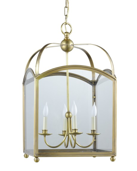 Arched Top Lantern, Natural Brass
