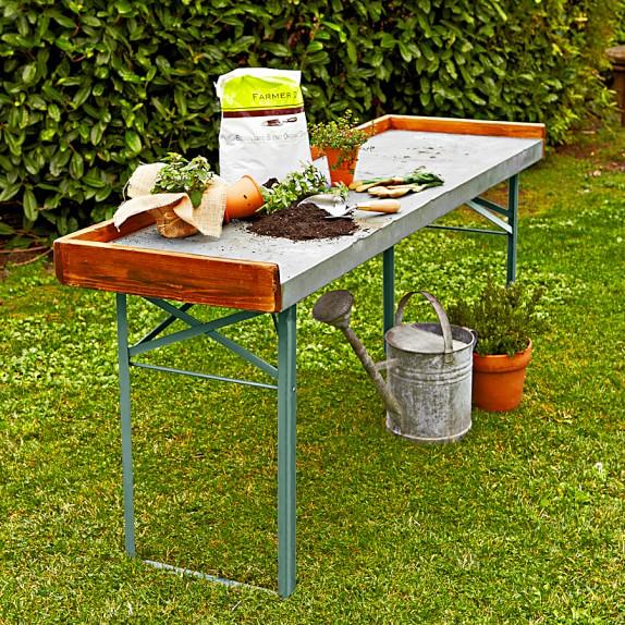 Vintage Galvanized Potting Table