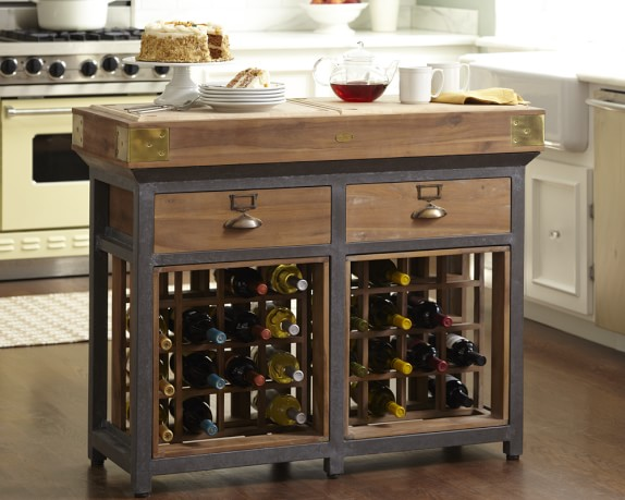 French Chef's Kitchen Island, Double Bordeaux with Drawers