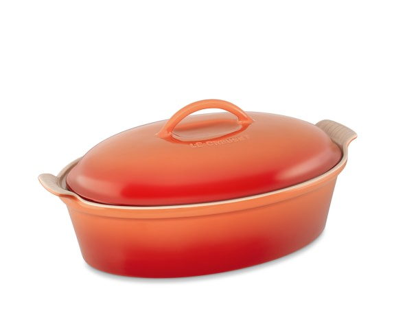 Le Creuset Heritage Stoneware Oval Covered Casserole, 4-Qt., Flame