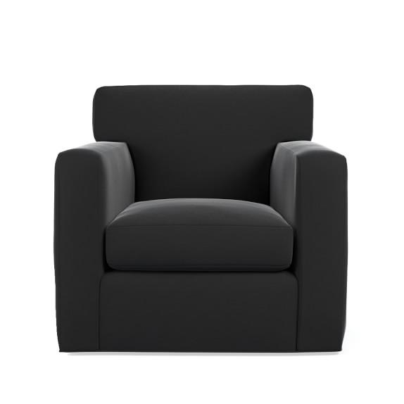 Clinton Swivel Chair, Standard, Luxe Velvet, Dark Grey