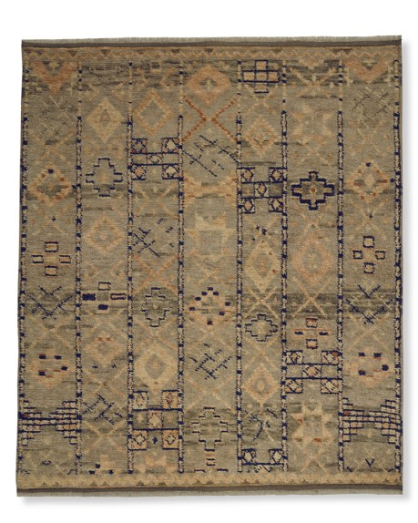 Hand-Knotted Souk Moroccan Rug, 8' X 10', Blue/Orange