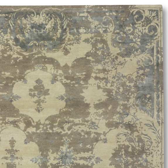 Misty Morning Hand-Knotted Wool/Silk Rug Swatch