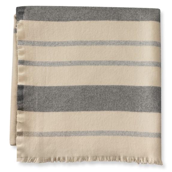 Striped Edge Blanket, King, Tan