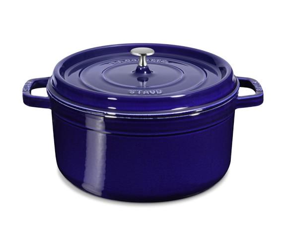 Staub Cast-Iron Round Cocotte, 5 1/2-Qt., Sapphire Blue