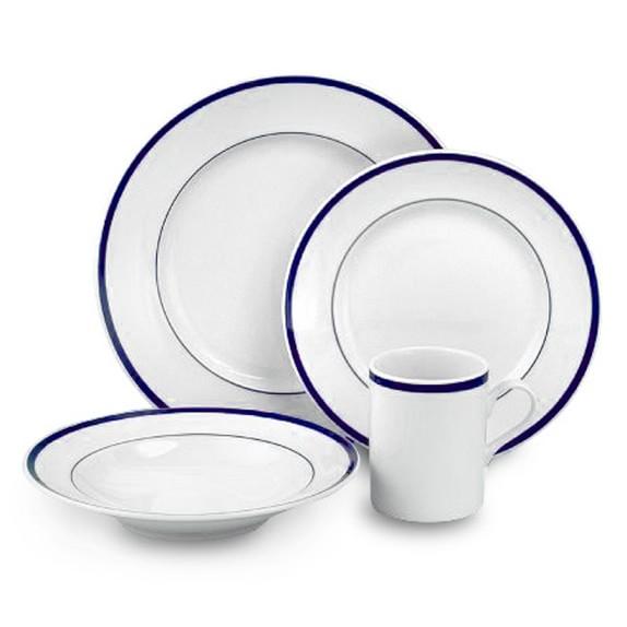 Brasserie Blue-Banded Porcelain 16-Piece Dinnerware Set
