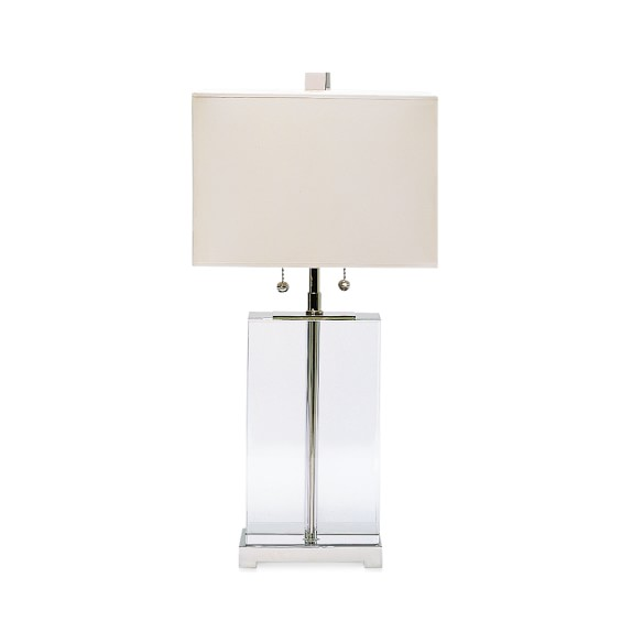 crystal block lamp tall williams sonoma. Black Bedroom Furniture Sets. Home Design Ideas