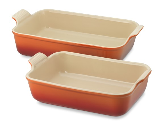 Le Creuset Stoneware Rectangular Bakers, Set of 2, Flame