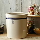 Stoneware Pickling Crock, Blue Stripe, 5 Gallon