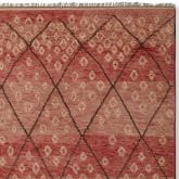Hand-Knotted Moroccan Diamond Rug Swatch, Coral