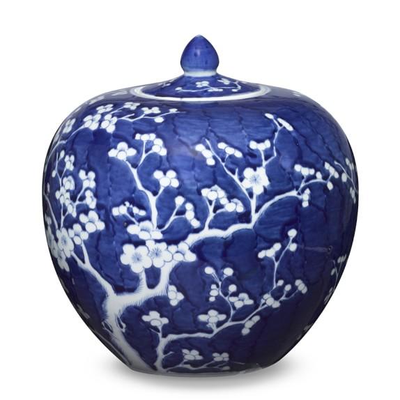 Blue & White Ginger Jar, Lidded Melon