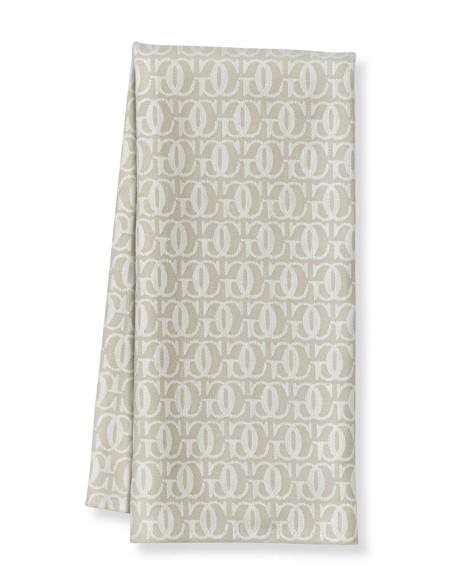 Williams Sonoma Monogram Jacquard Towels, Set of 2, Bright White/Flax