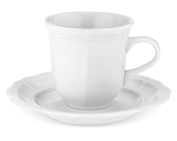 Pillivuyt Queen Anne Porcelain Cups & Saucers, Set of 4