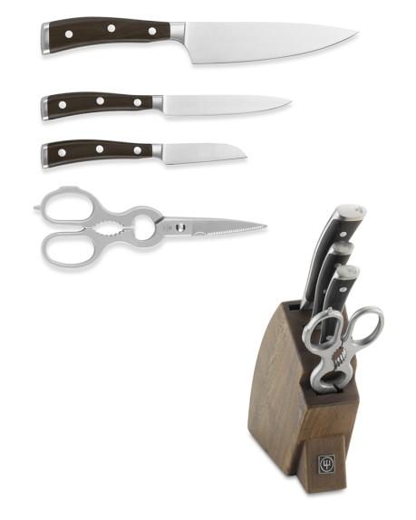 Wüsthof Ikon Blackwood 5-Piece Knife Block Set