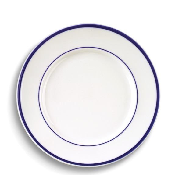 Brasserie Blue-Banded Porcelain Dinner Plates, Set of 4