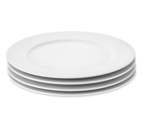 Apilco Beaded Hemstitch Porcelain Dinner Plates, Set of 4