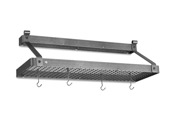 Enclume Double Shelf Pot Rack, Hammered Steel