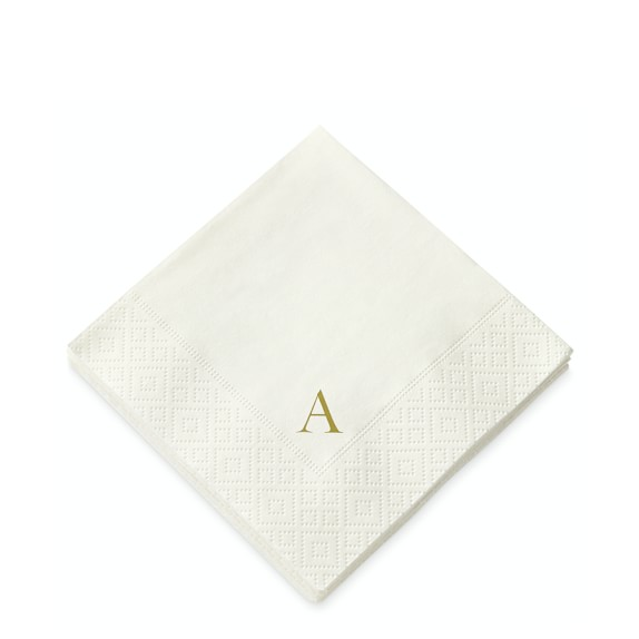 Monogrammed Paper Cocktail Napkins, Set of 40, A