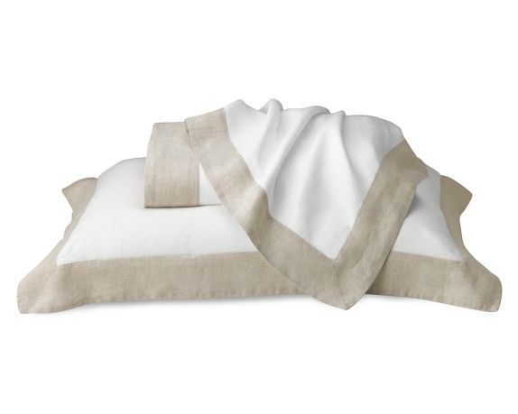 Chambers Washed-Linen Border Bedding, Duvet, Full/Queen, Natural
