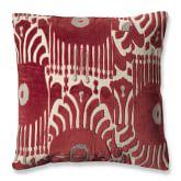 Velvet Ikat Applique Pillow Cover, Red/Natural