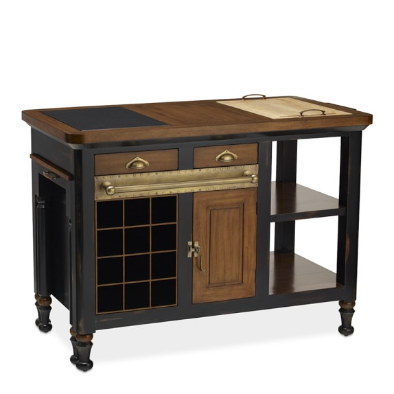 Bastille Kitchen Island, Cherry/Black