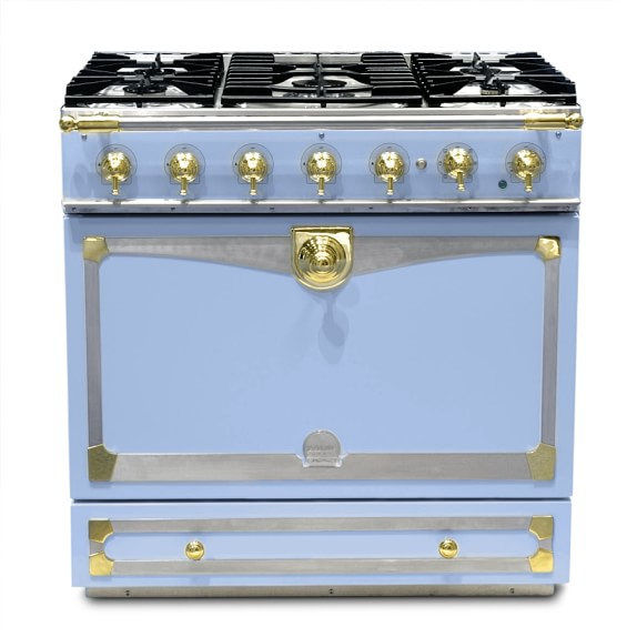 La Cornue Albertine Provence Blue Stove with Satin Chrome Polished Brass