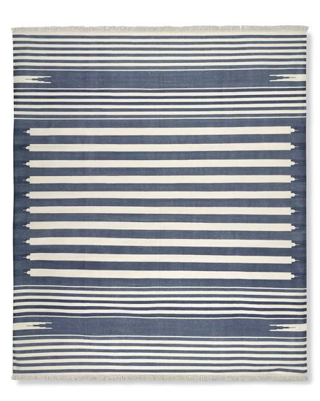 Stonewashed Variegated Stripe Flatweave Rug, 6x9', Navy