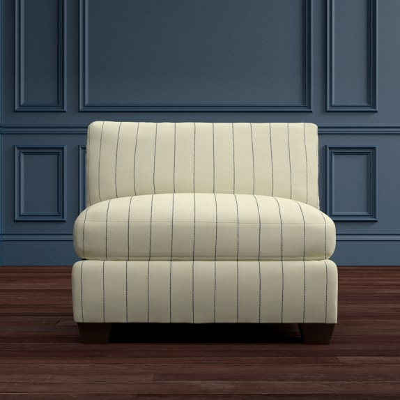 Sectional Slipper Chair, Cotton/Polyester, French Stripe, Admiral