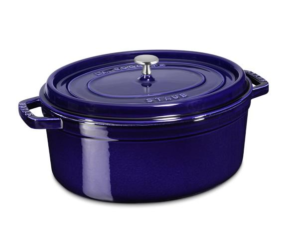 Staub Cast-Iron Oval Cocotte, 7-Qt., Sapphire Blue