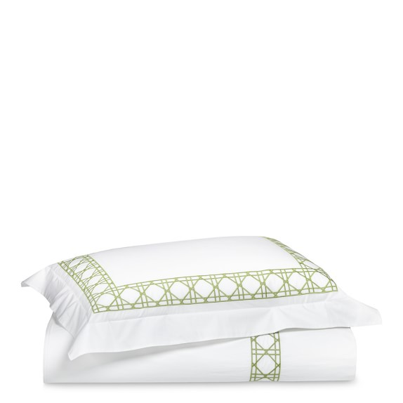 Cane Embroidery Bedding, Duvet, Full/Queen, Green