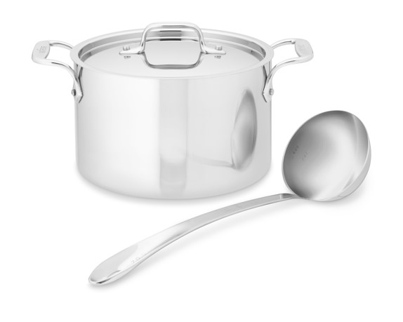All-Clad Tri-Ply Stainless-Steel Soup Pot with Ladle, 4-Qt.