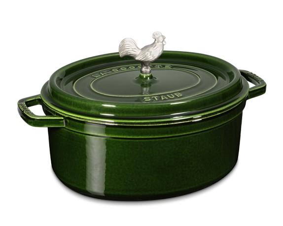 Staub Cast-Iron Oval Coq Au Vin Oven, 5 3/4-Qt., Basil