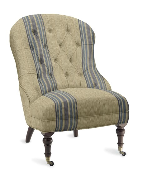Carlyle Chair, Cotton/Rayon, Rustic Stripe, Yacht