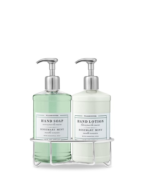 Williams Sonoma Essential Oils Deluxe Hand Soap & Lotion Gift Set with Wire Caddy, Rosemary Mint