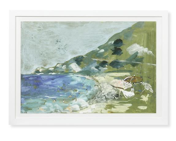 Italian Beach Day Watercolor, Cove