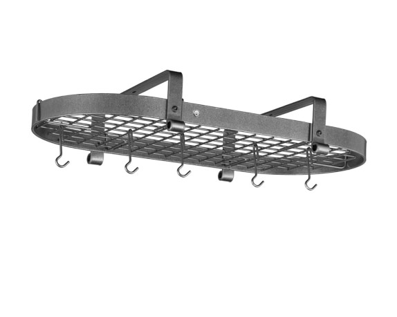Enclume Low Ceiling Oval Pot Rack, Hammered Steel