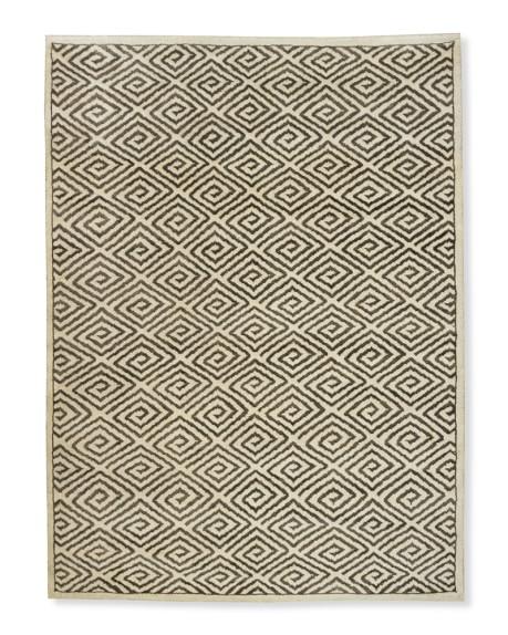 Graphic Greek Key Rug, 8x10', Ivory/Gray