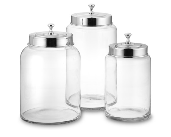 Glass Canisters, Set of 3