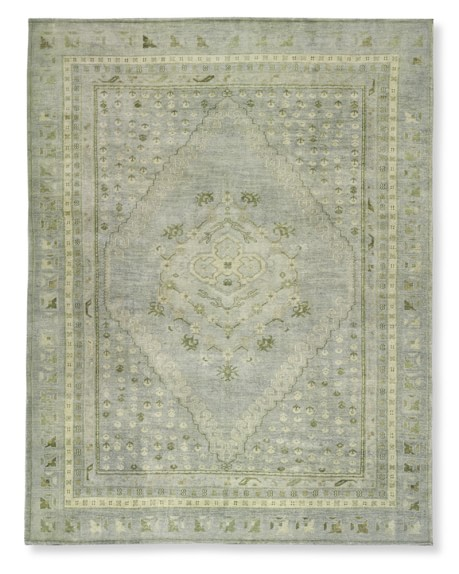 Hand-Knotted Blue Lagoon Rug, 6x9', Blue/Gray