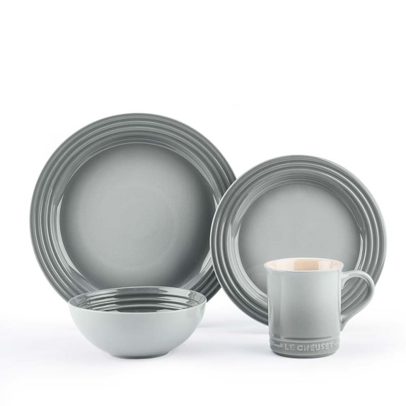 Le Creuset 16-Piece Place Setting with Cereal Bowl, French Grey