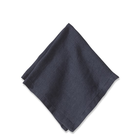 Washed Linen Cocktail Napkins, Set of 4, Navy