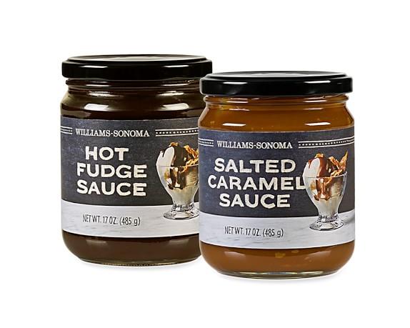 Williams Sonoma Hot Fudge & Caramel Sauce Set