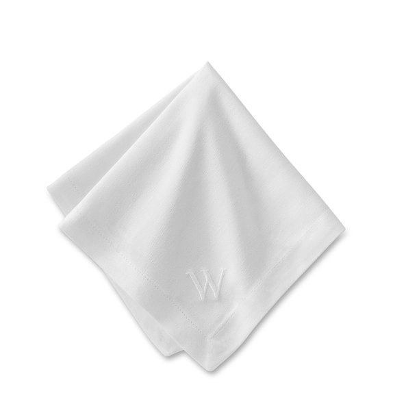Monogrammed Hotel Dinner Napkins, White, Set of 6
