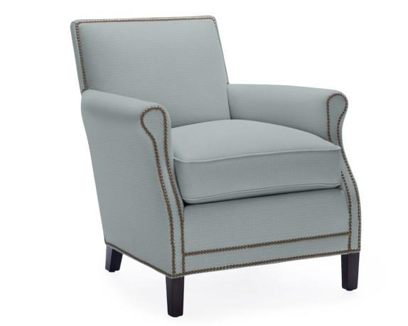 Carter Chair, Chenille, Basketweave, Blue Smoke, Polished Nickel