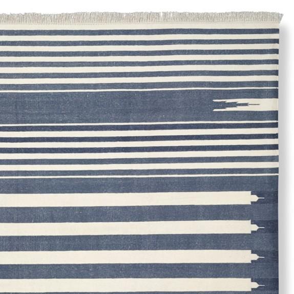 Stonewashed Variegated Stripe Flatweave Rug Swatch