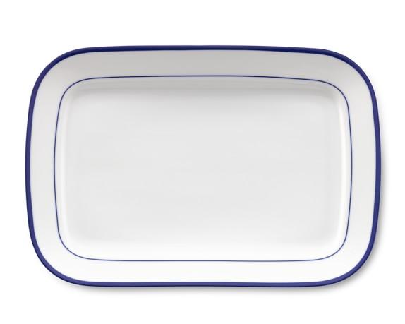 Brasserie Blue-Banded Porcelain Rectangular Platter, Blue