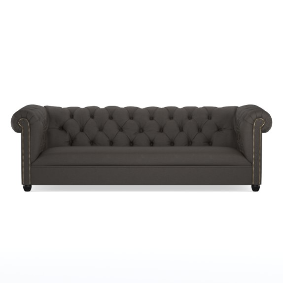 Bond Chesterfield Sofa, Polished Nickel, Faux Suede, Chocolate
