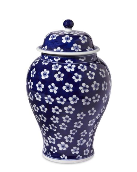 Blue & White Ginger Jar Lidded Urn, 12