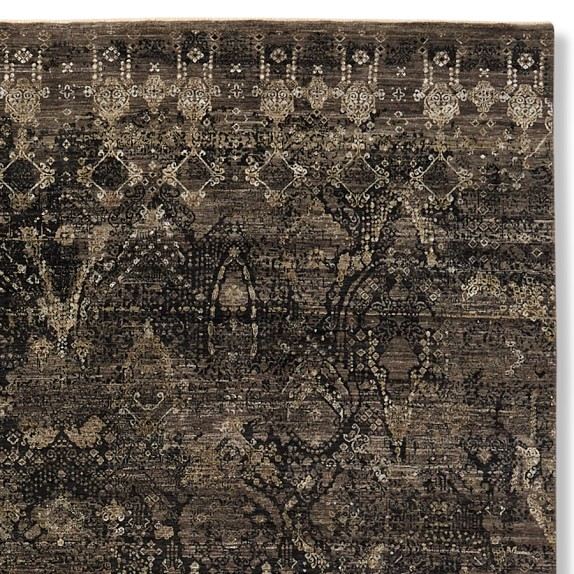 Hand Knotted Wool & Silk Jewelry Rug Swatch, Black
